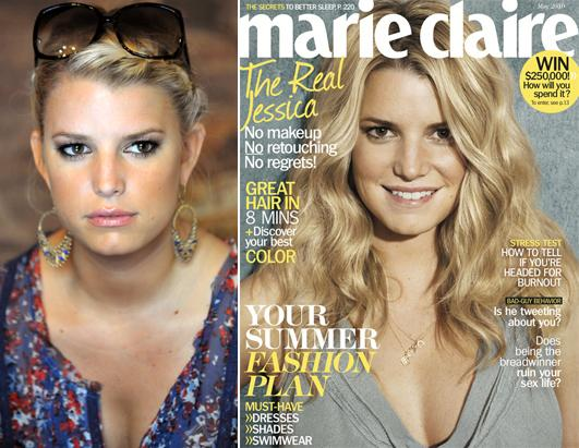 with makeup (left) and then the May 2010 Marie Claire cover without: